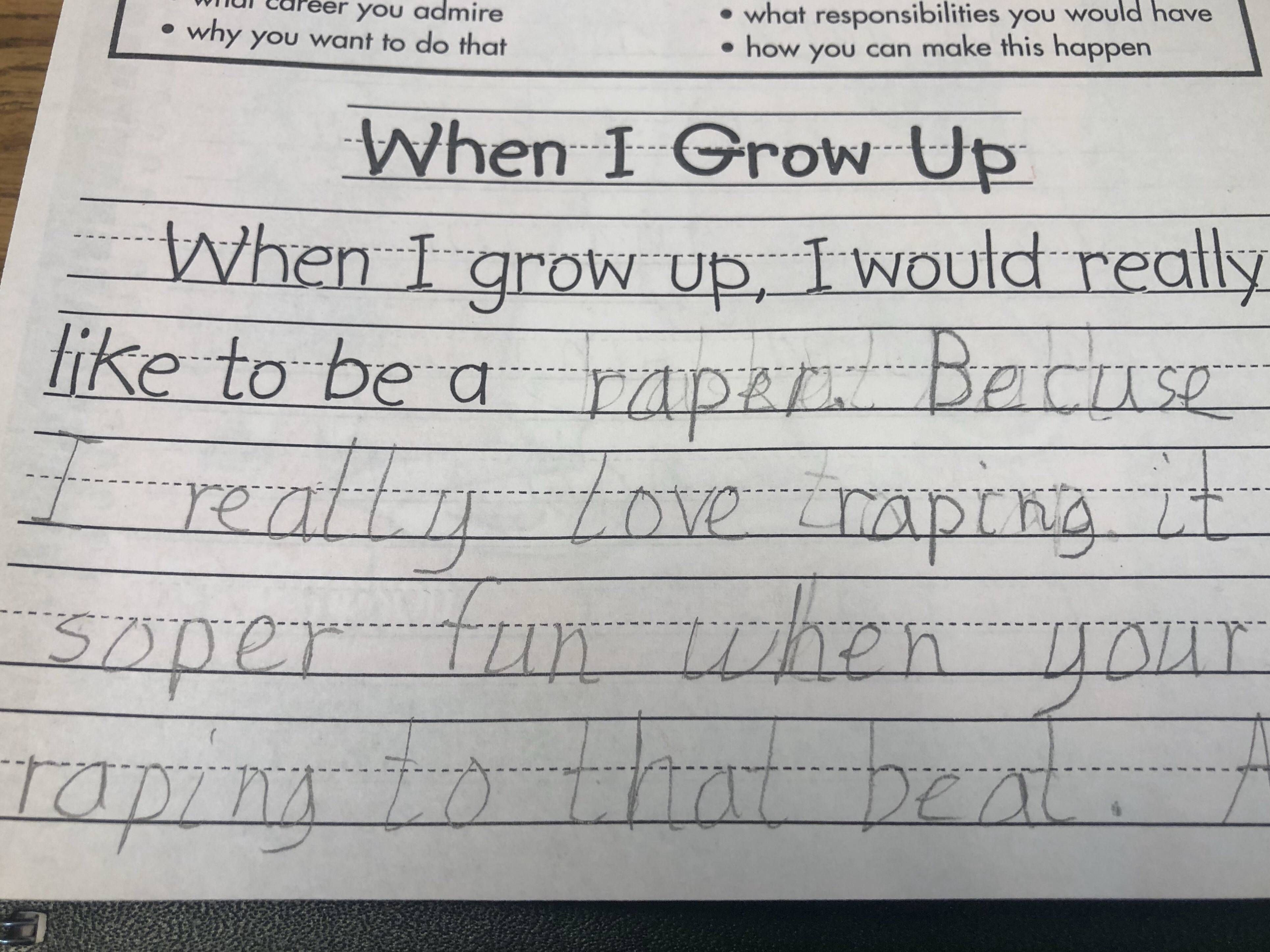 My wife is a 3rd grade teacher, this was an in class assignment today.