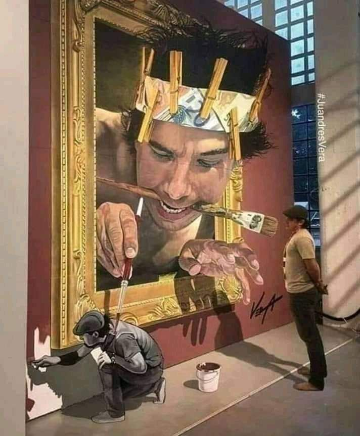 A painter painted a painter watching a paint of a painter painting the paint he's painting