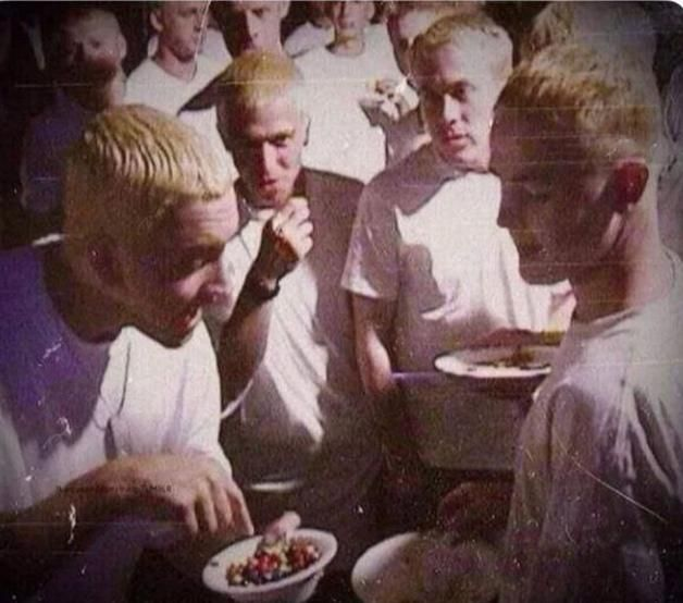 Eminem sharing M&M with other Eminems in 2001