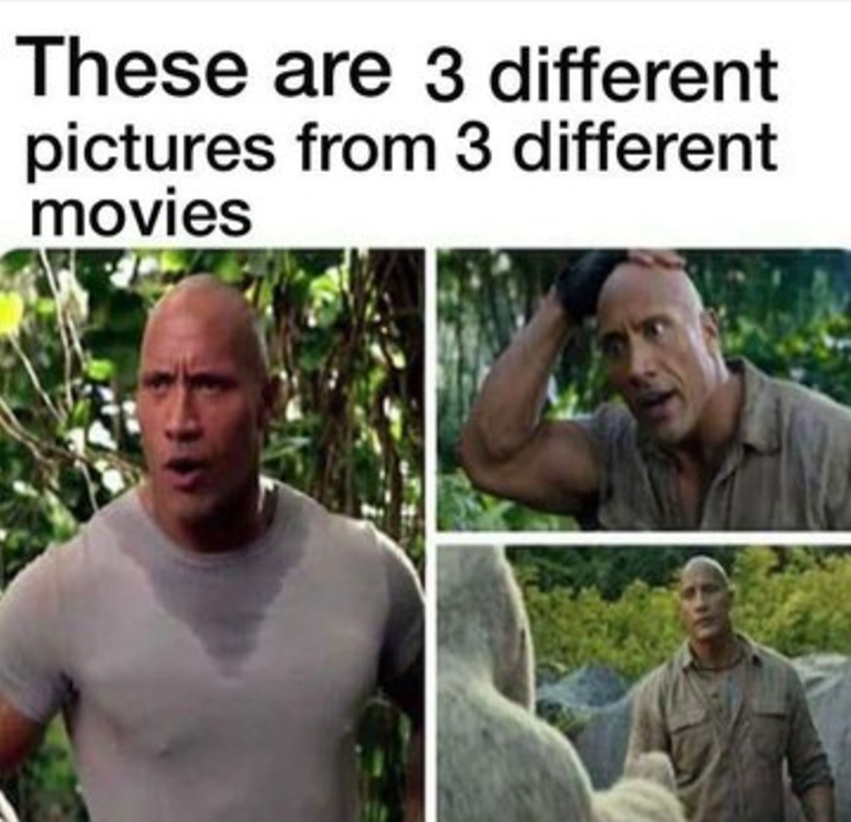 Poor Dwayne keeps getting stranded in a forest every time...