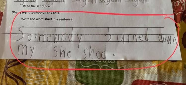My friend's daughter's homework.