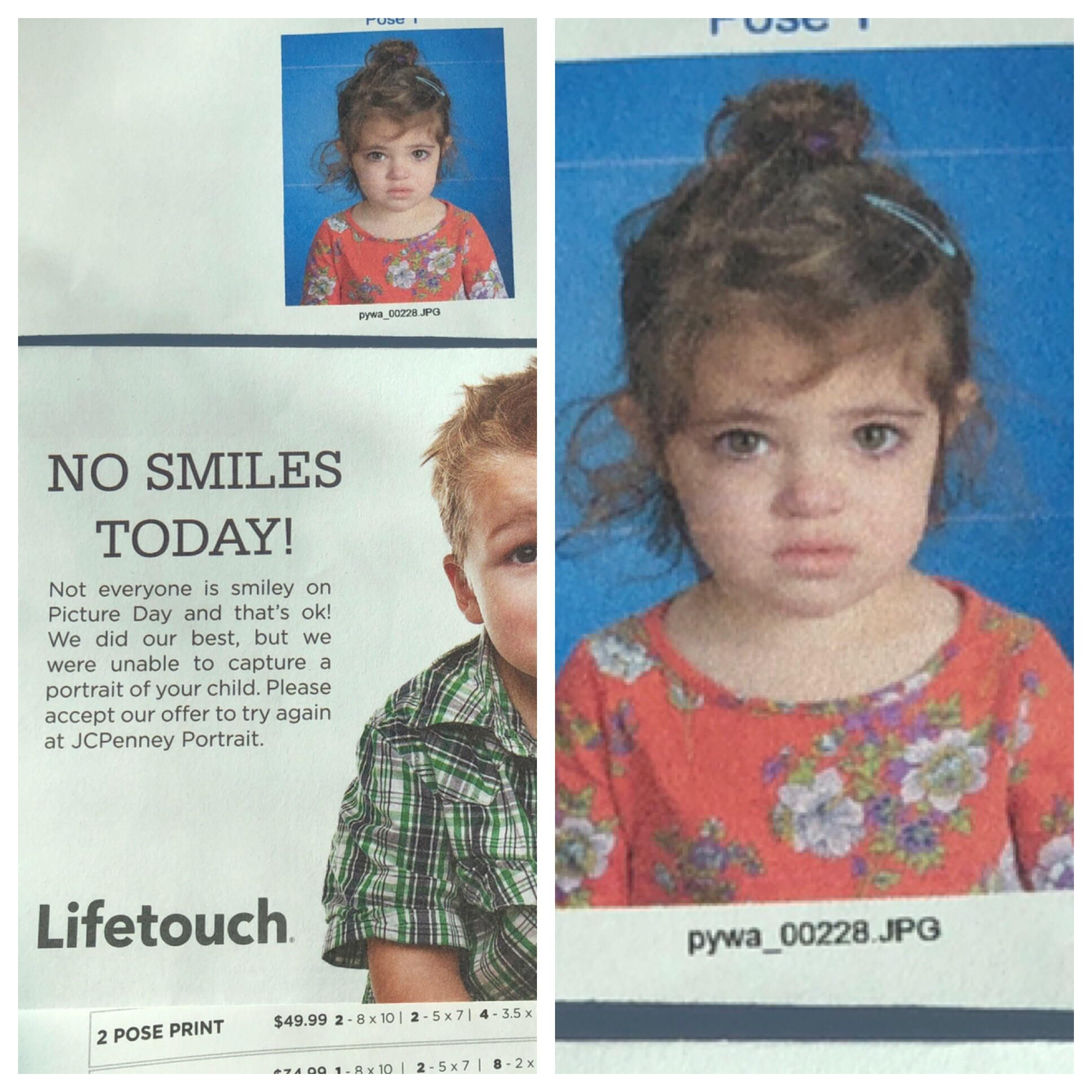 My daughters first ever school photo. She was so excited for days, went in and got mugshot instead.
