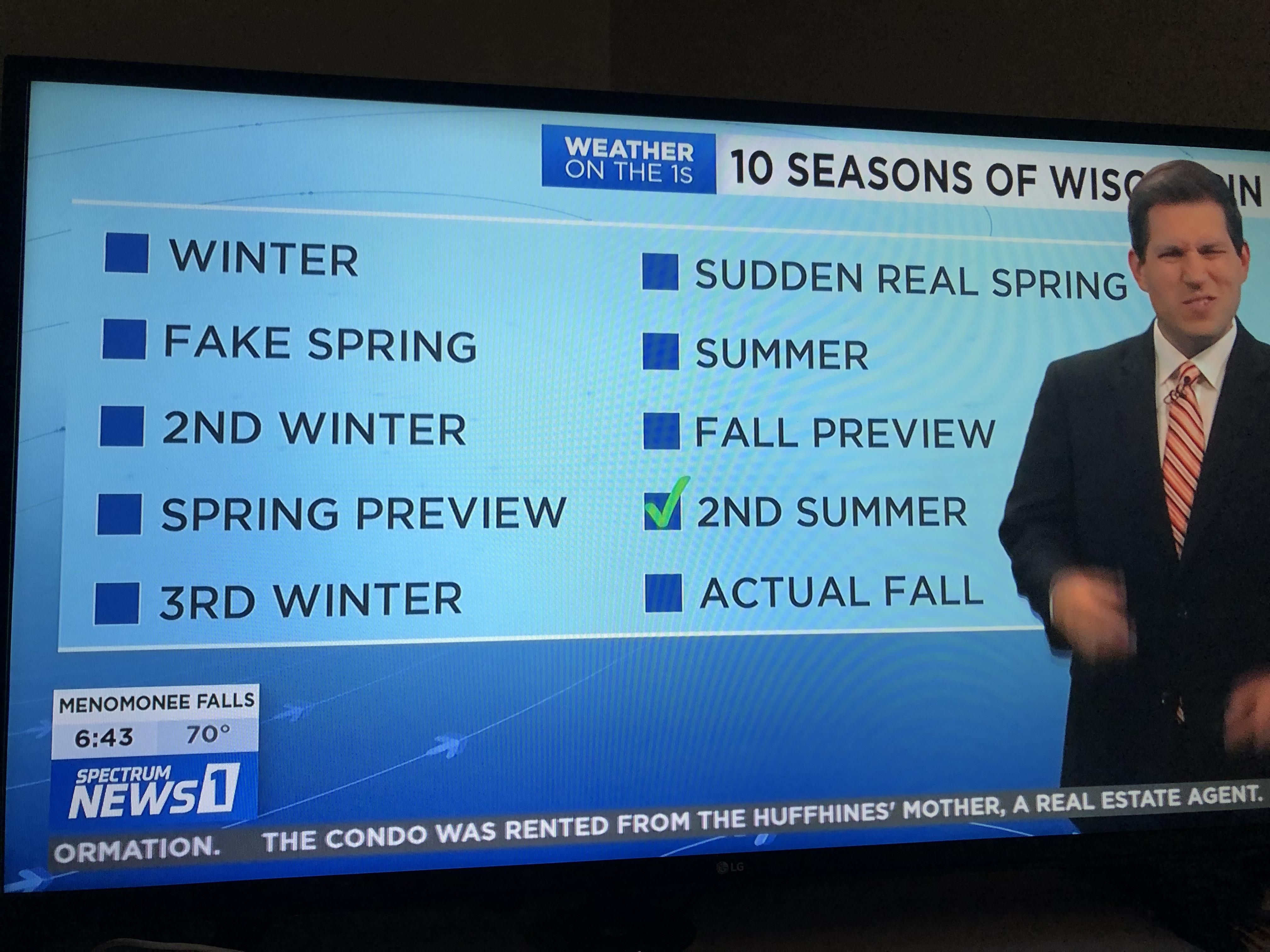 The 10 seasons of Wisconsin, according to our local news station