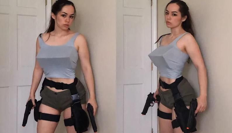 Edgy Tomb Raider cosplay
