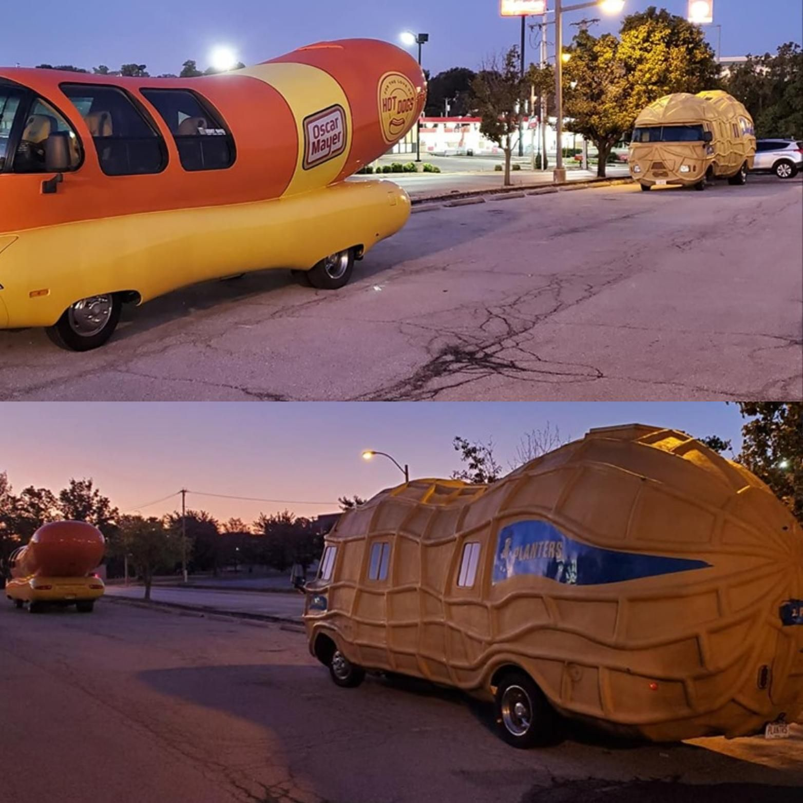 The nut truck behind the Weiner Mobile...