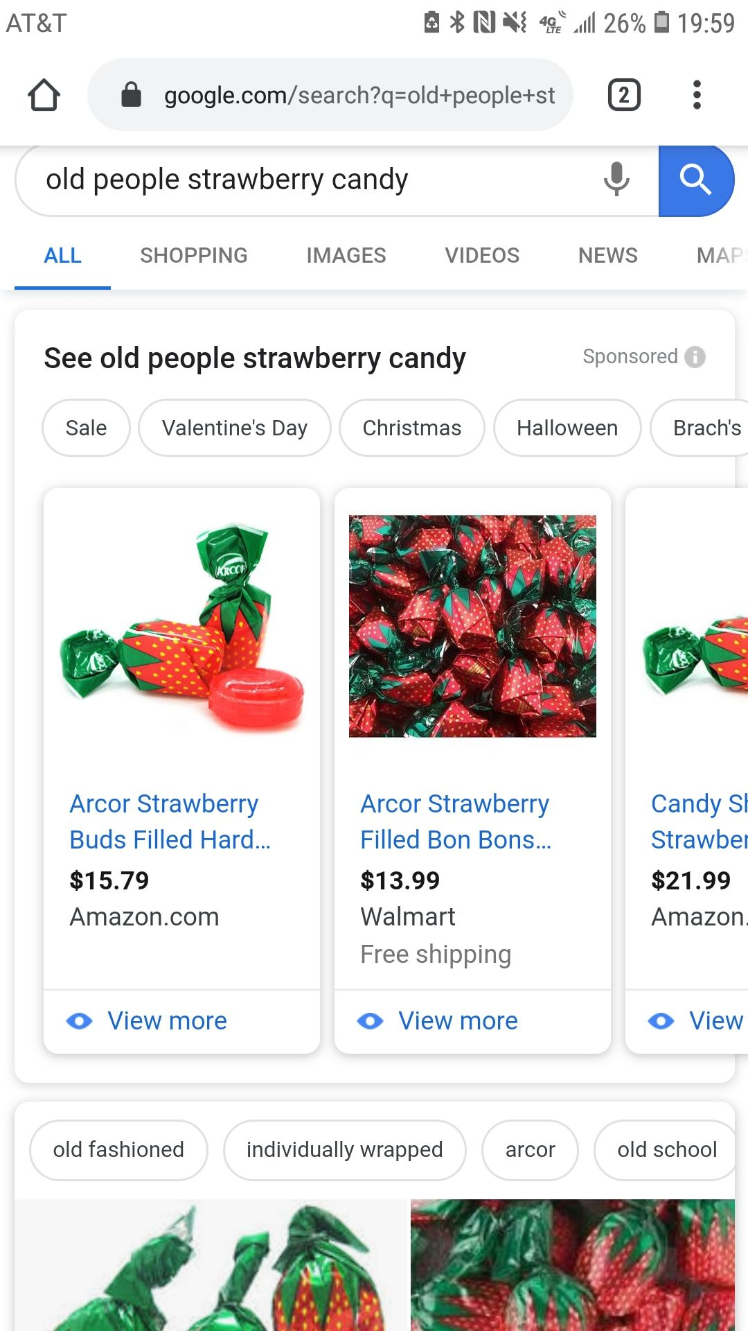 I typed in old people strawberry candy. I feel like we all know this candy.