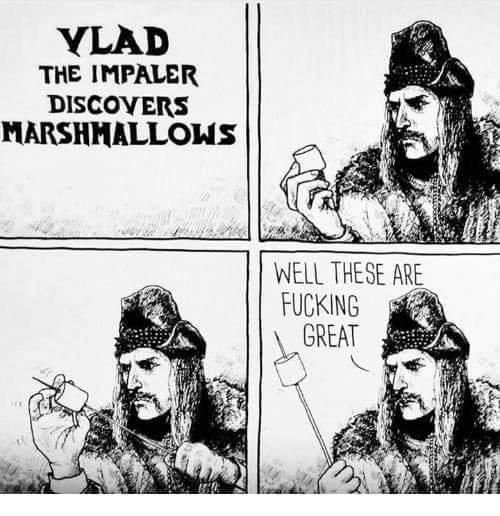 Vlad discovers marshmallows.
