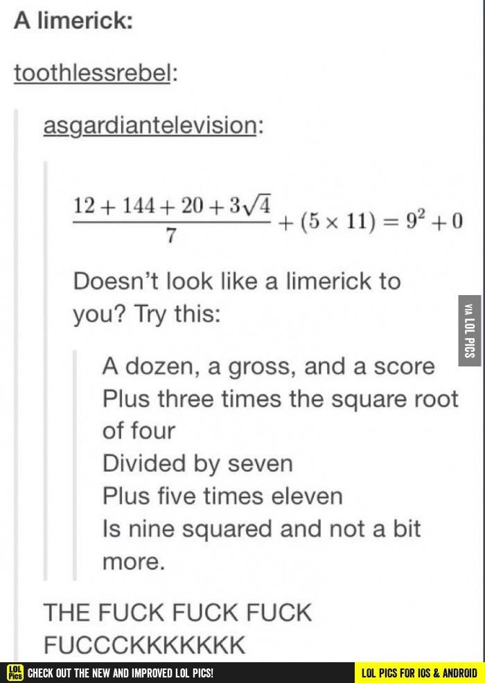 A maths limerick!