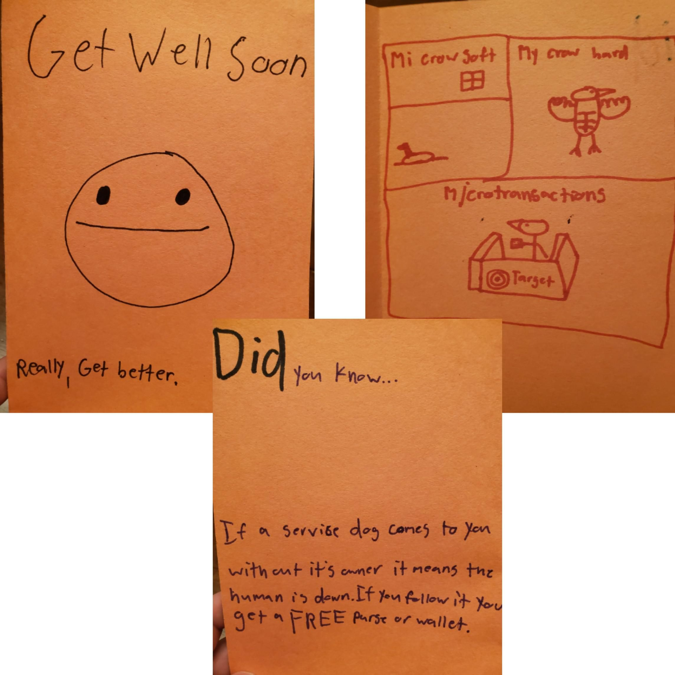 My buddies brother is sick and this card was left for him by one of his class mates. Serious gold. This needs to be acknowledged.