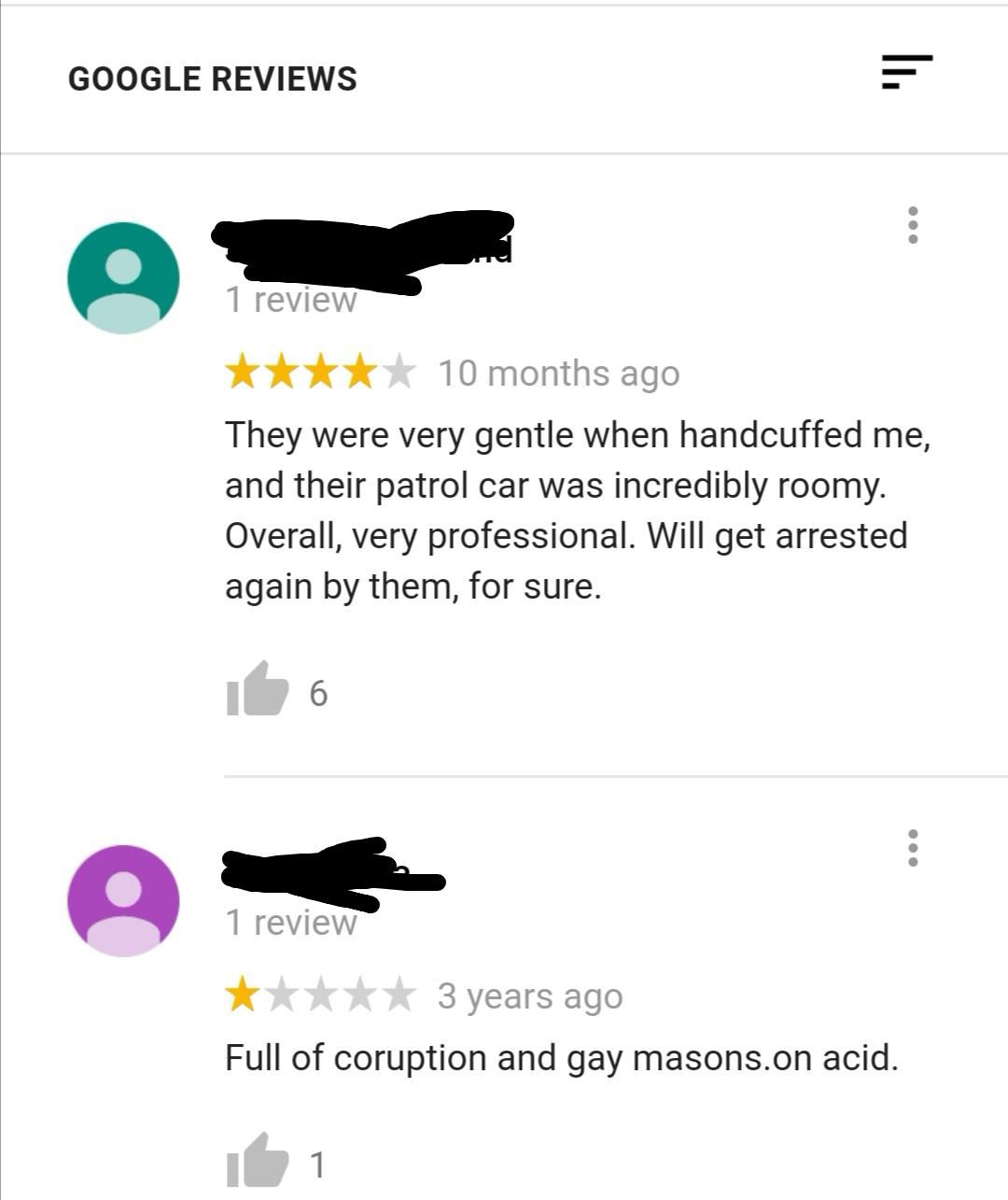 Reviews for the local police station