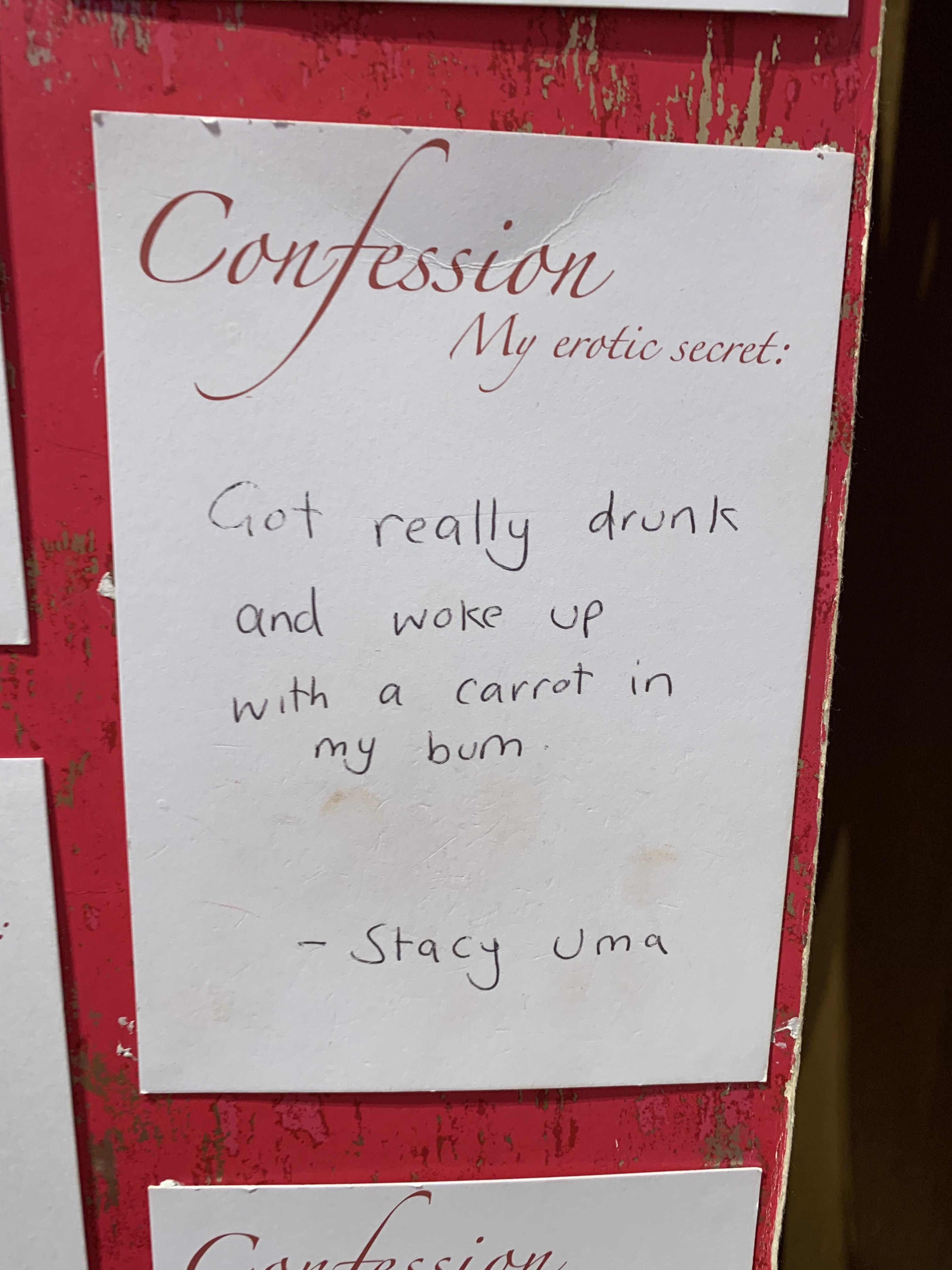 This Confession written by a visitor in the Museum of Prostitution in Amsterdam