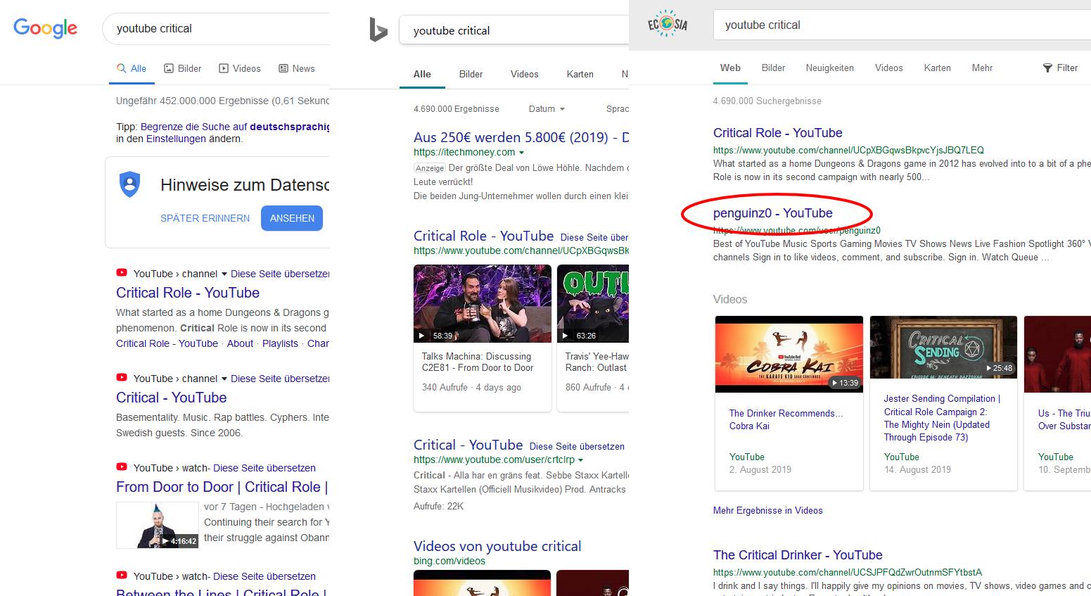 "Breaking: ""Google vs. Bing"" Memes irrelevant, Ecosia clearly superior"