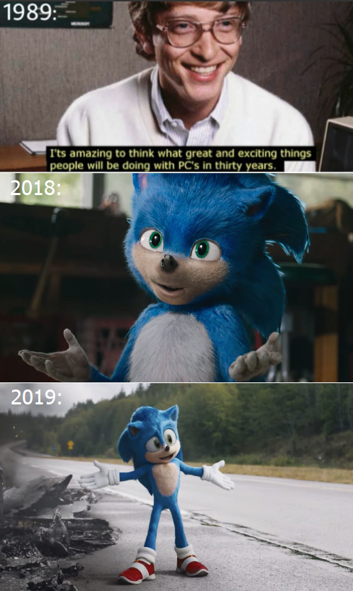 He knew (I know the trailer was out in april but they must have designed the abomination in 2018)