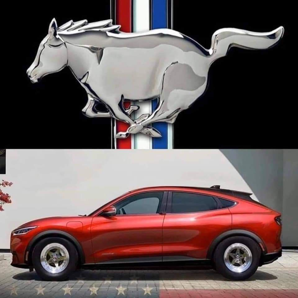 New electric ford mustang and the new mustang emblem.