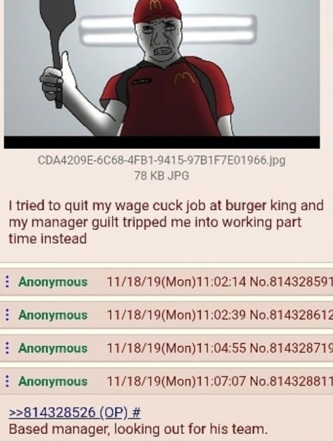 Works at Burger King, wears a McDonald's uniform