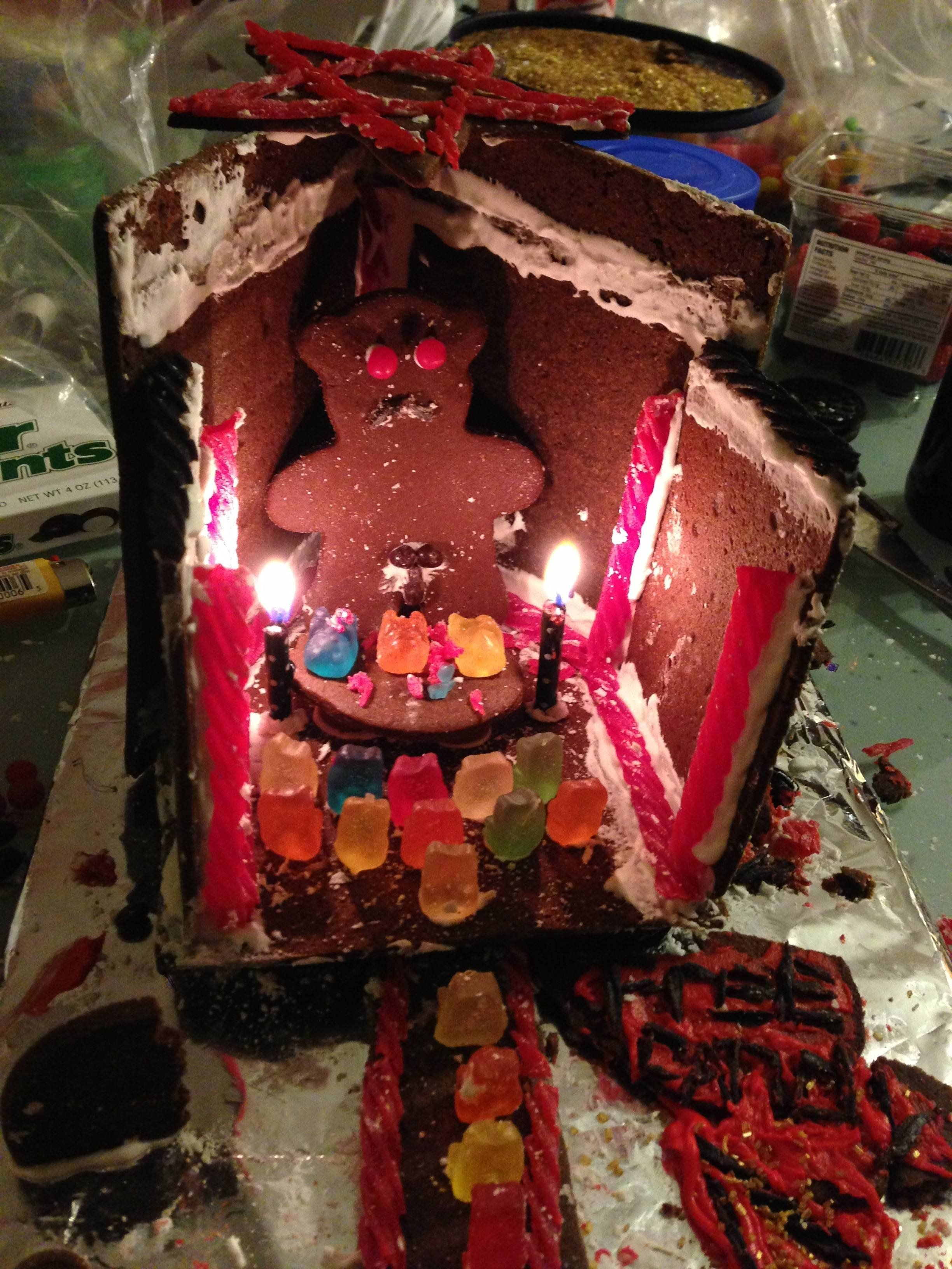 My date asked me what I wanted to do for our gingerbread house... She probably shouldn't come to me for suggestions.