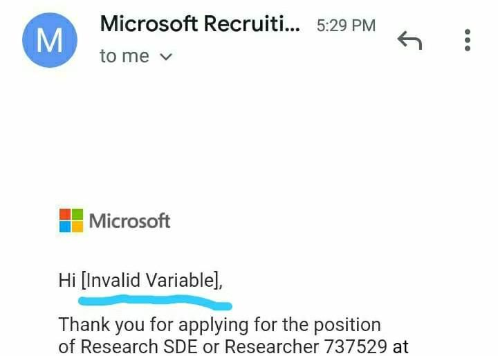 """May be I am not competent enough to apply for Microsoft. But calling me an """"Invalid variable"""" is not cool Microsoft :)"""