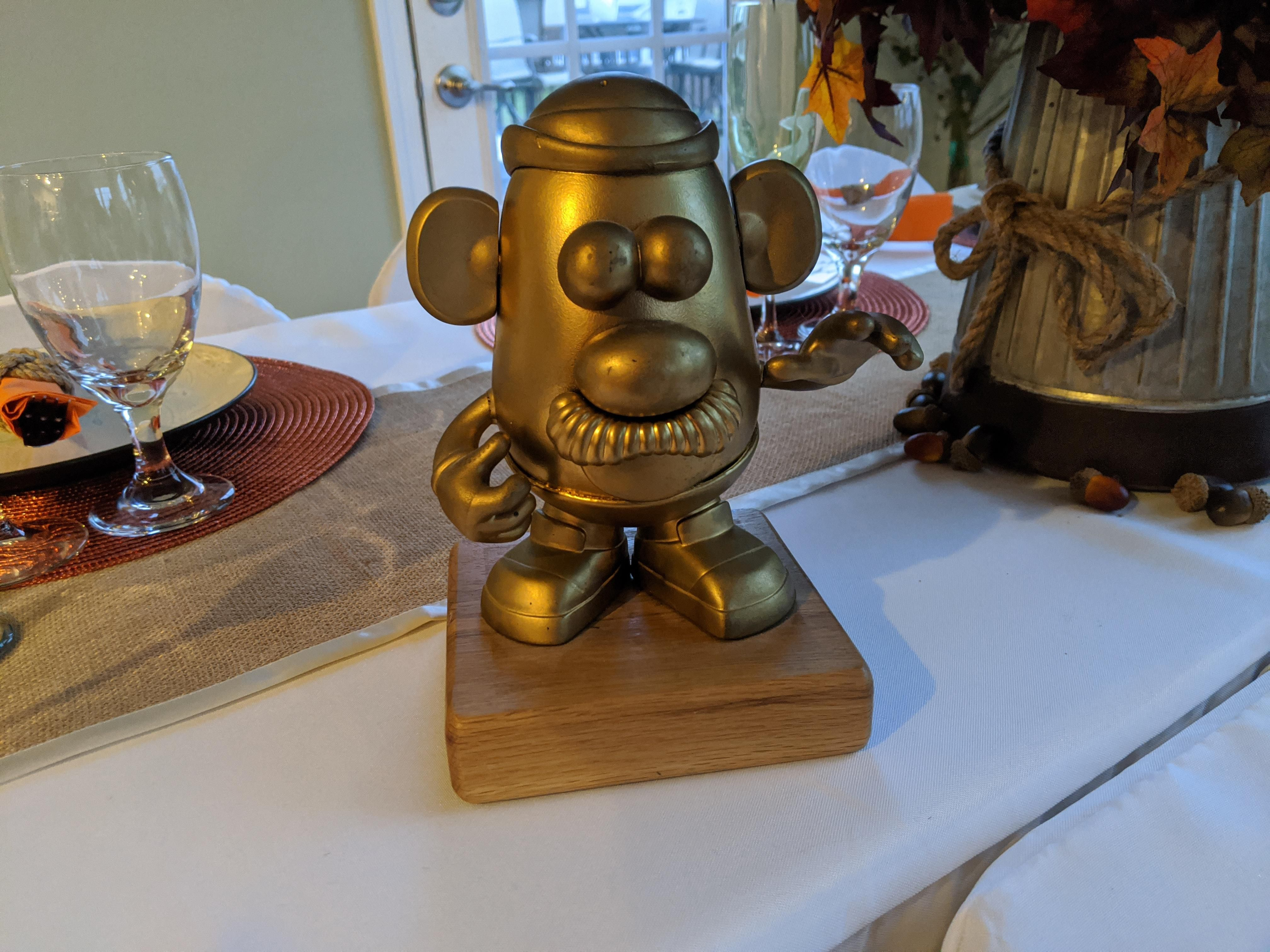 Every year my in-laws do a Thanksgiving potato peeling contest. Winner gets to keep the trophy till next year.