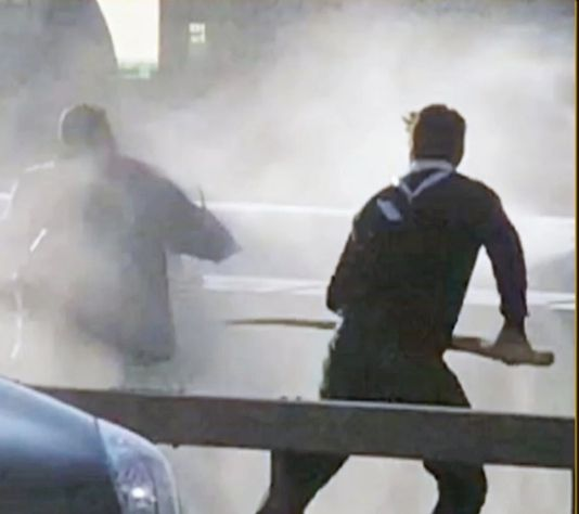 Just a guy attacking a terrorist with a narwhal tusk on London Bridge