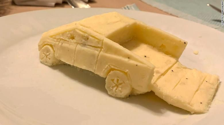 Cybertruck made out of mashed potatoes
