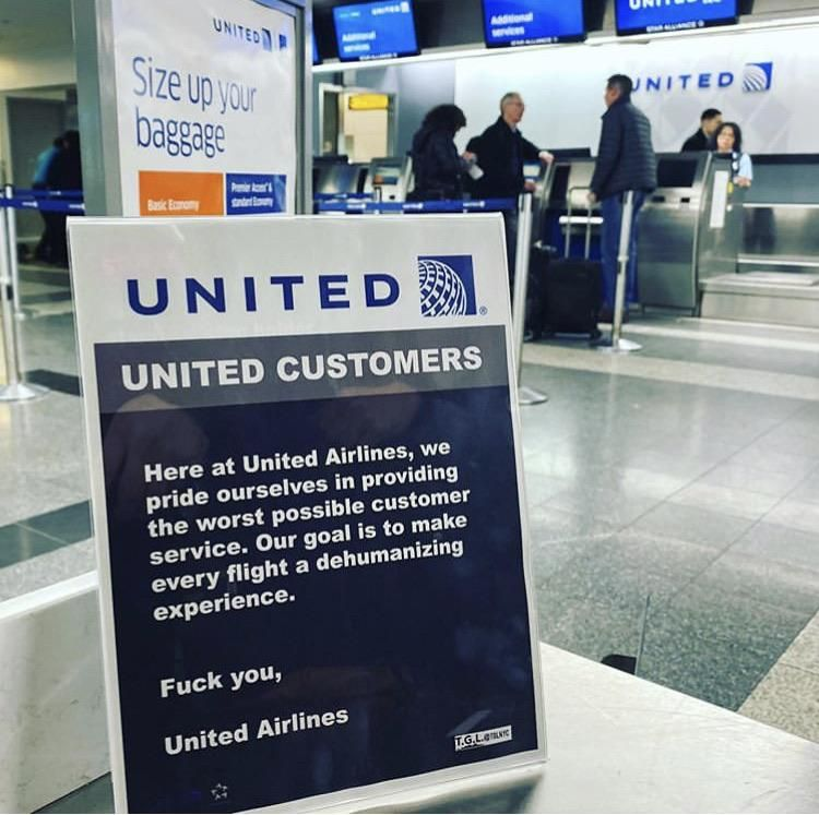 Fake United signs posted at the airport