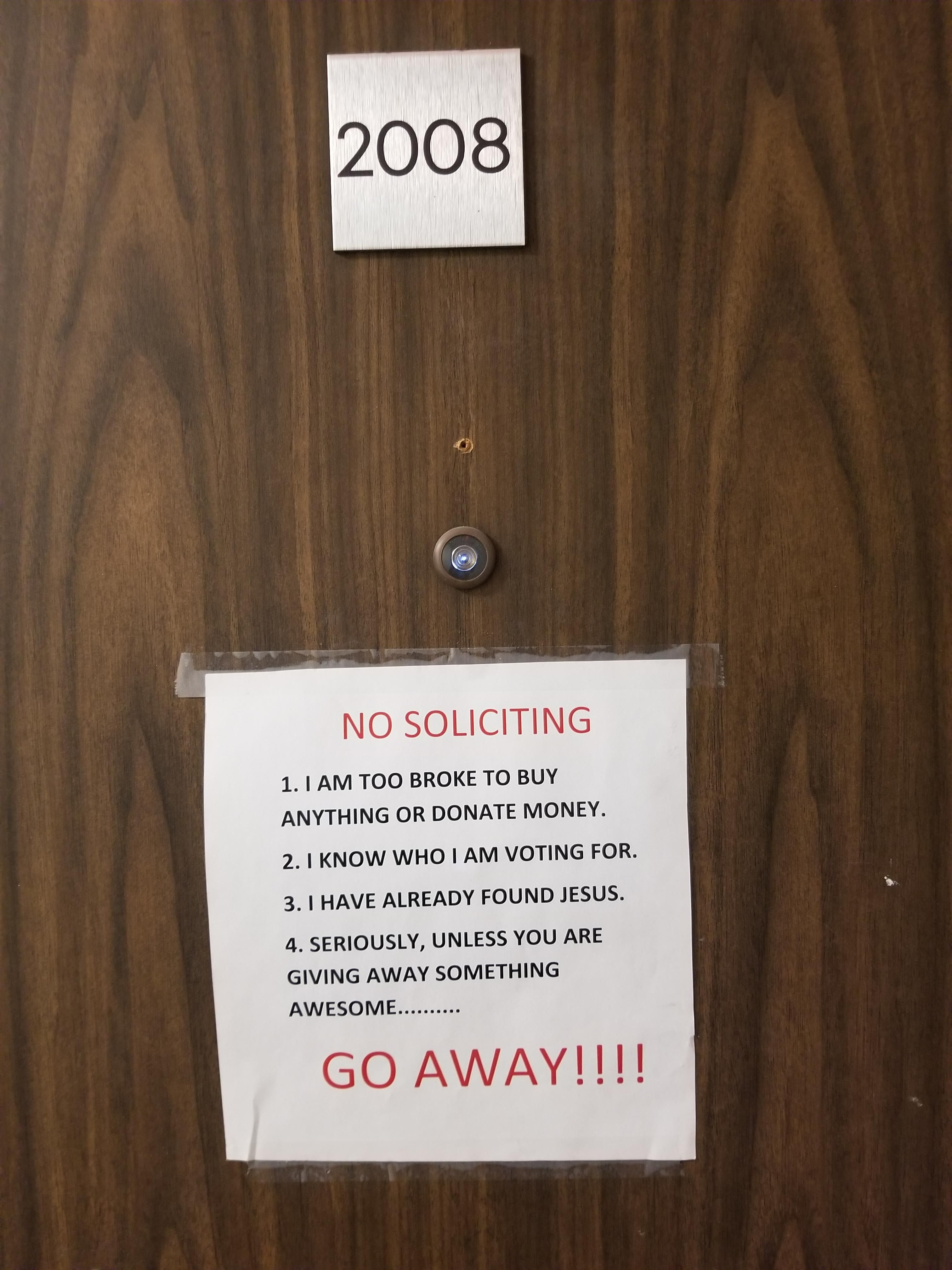 My neighbor posted this on their door