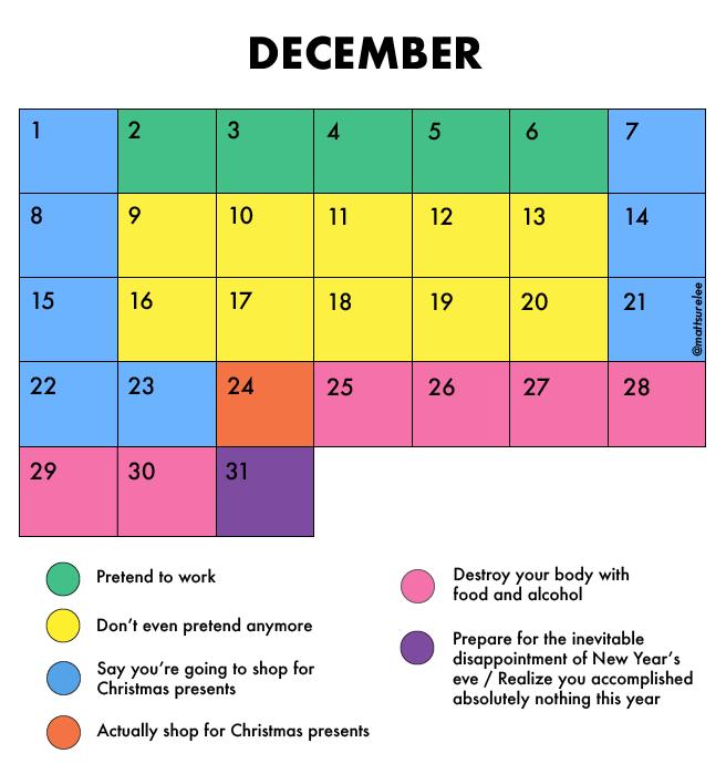 December's schedule