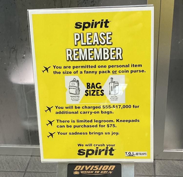 Fake Spirit Airlines Signs put up at the airport