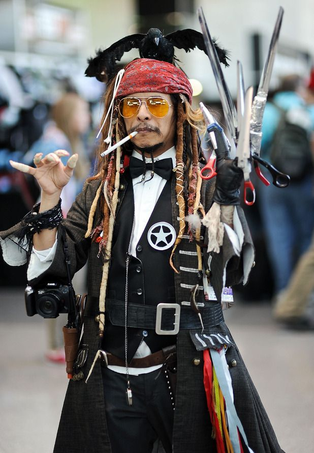 So, some guy decided to cosplay as Johnny Depp's character in a movie - ALL of them.