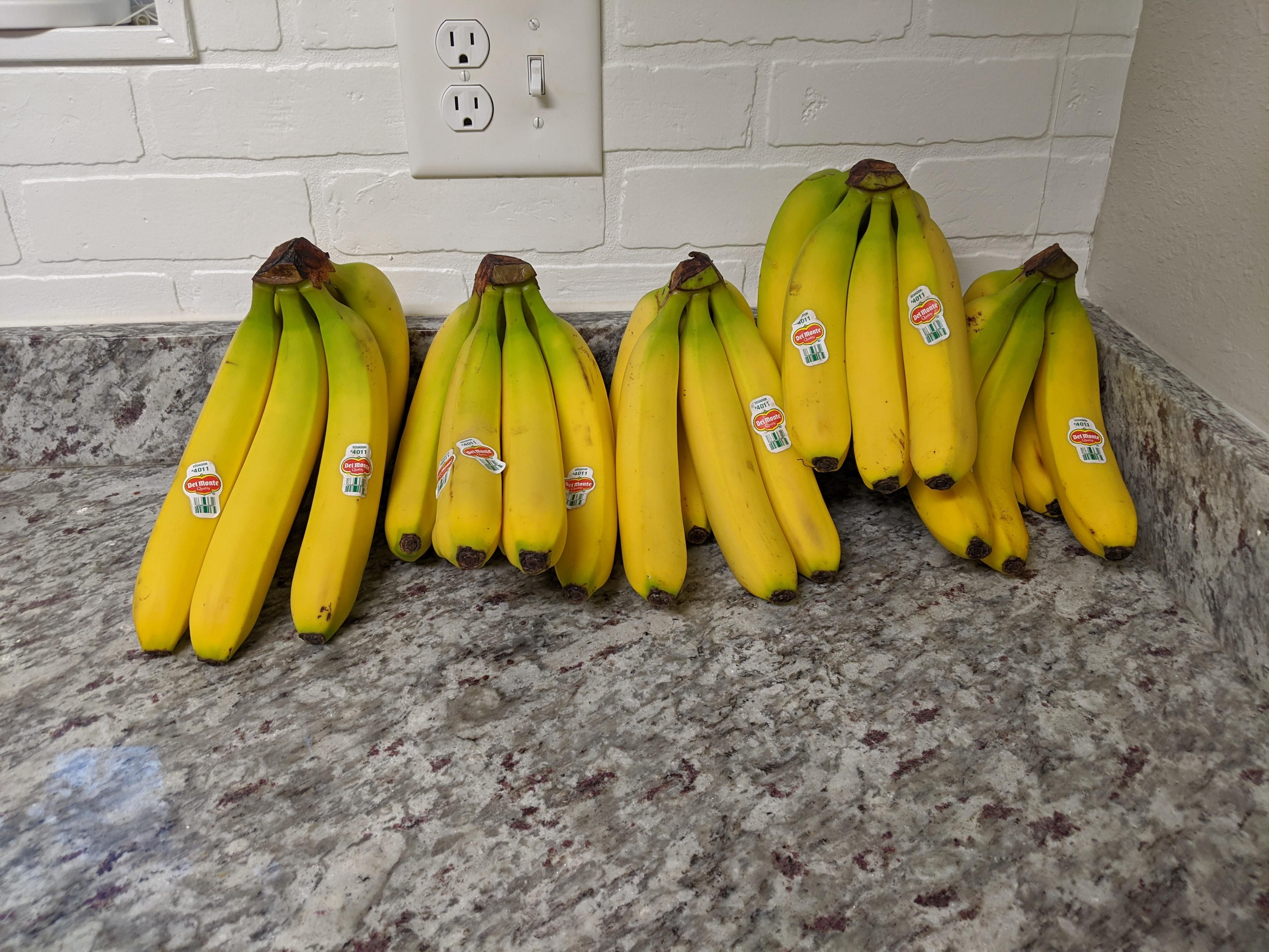 My fiance tried to have our groceries delivered today. She said she wanted five bananas and somehow the woman misunderstood and bought THIRTEEN POUNDS OF BANANAS
