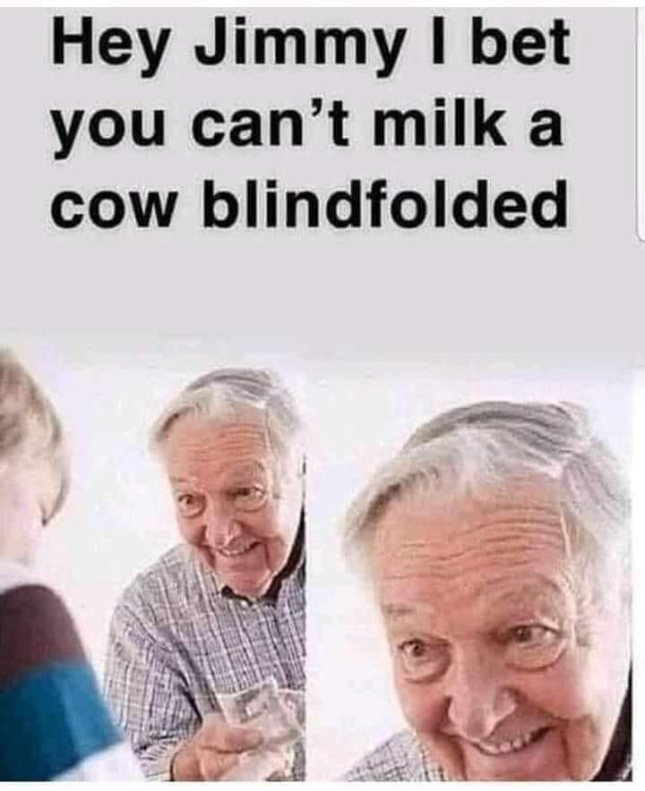 I can only milk bulls blindfolded