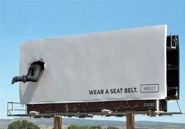 This billboard promoting the usage of seatbeltd