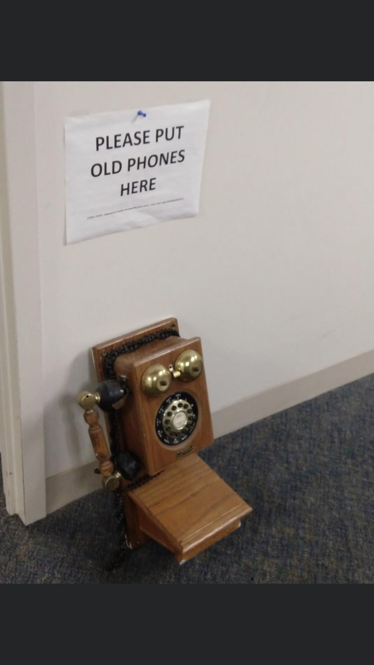 We upgraded our phone system at work and got new phones. All the old phones were supposed to be left in the hallway under this sign. Someone brought in this.