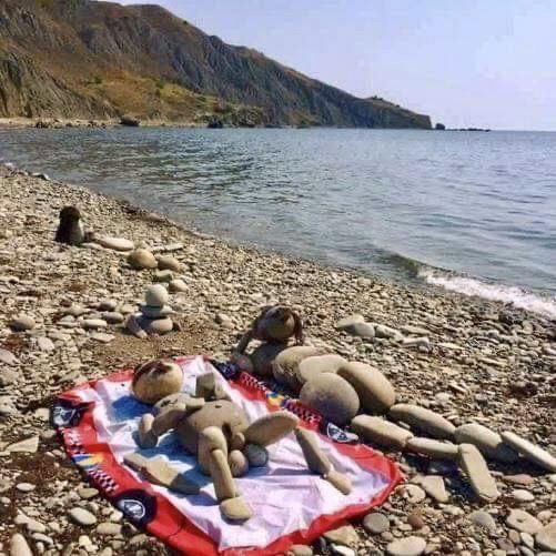 Nudists are stoned at the beach