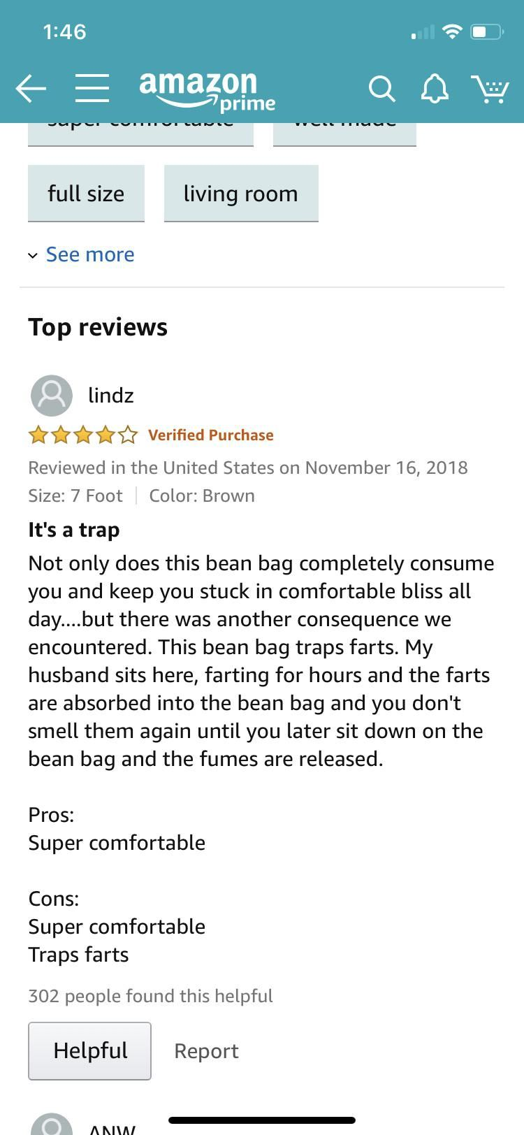 Saw this while looking at reviews of 7ft bean bag chairs and couldn't stop laughing