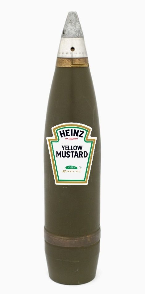 WW1 Mustard Gas Shell, colorized