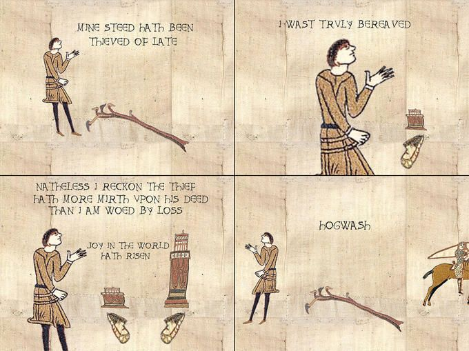 "From Today's Meme Archives: ""Bayeux Tapestry"" (est. 2003). Ye wenches in comments"