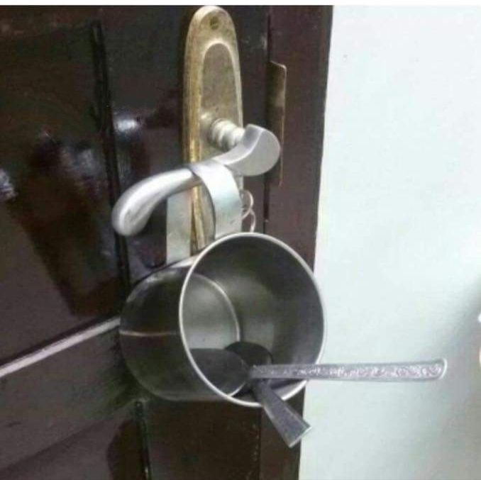 The husband is trying to enter house late with the silence but wife uses the technology that even NASA doesn't have.