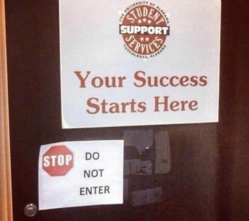 Success never enters