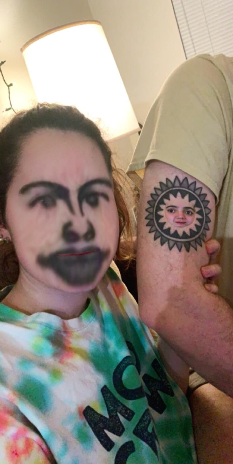 Face-swapping, with a tattoo