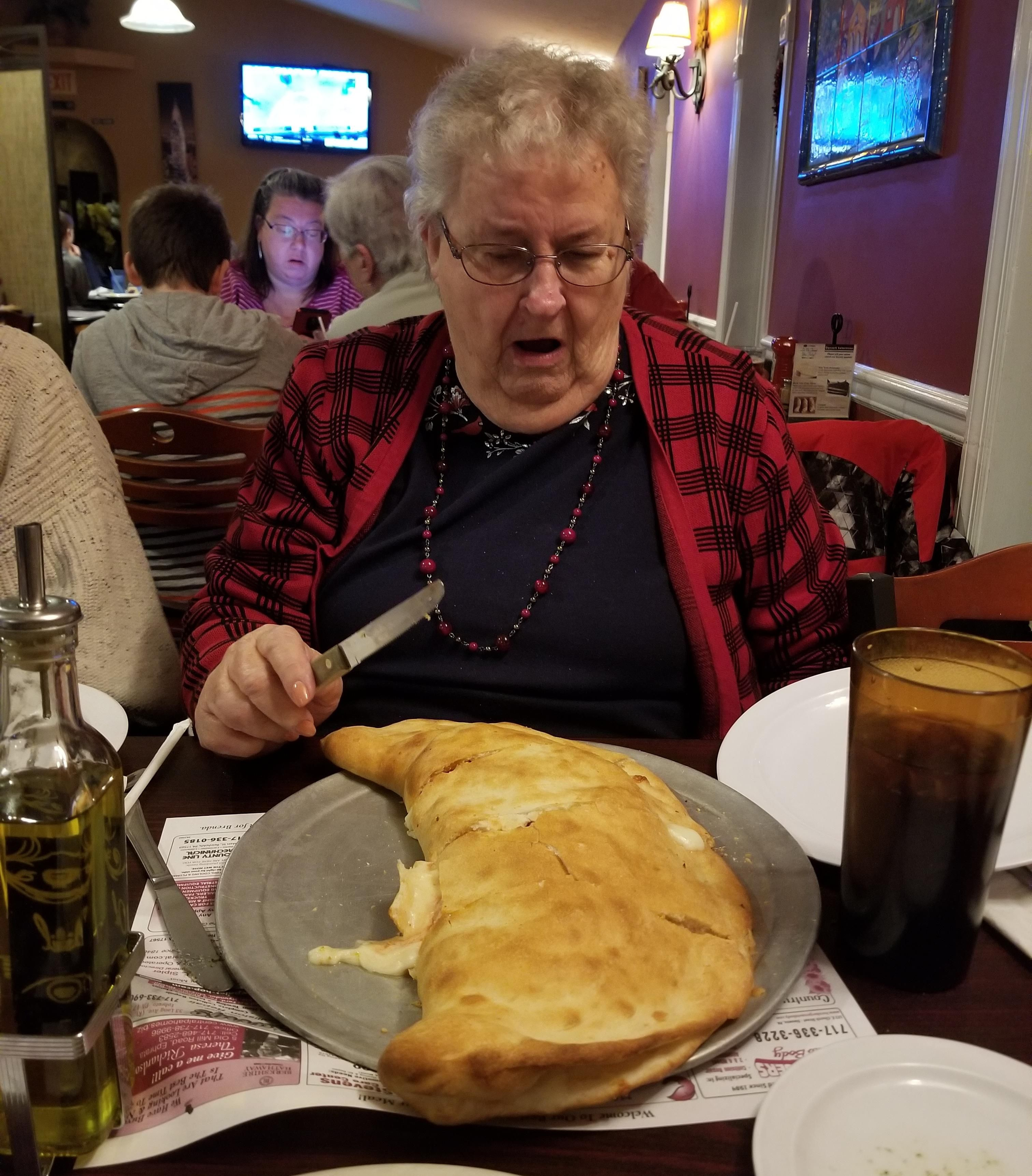 "My Grandma and her ""small"" stromboli."
