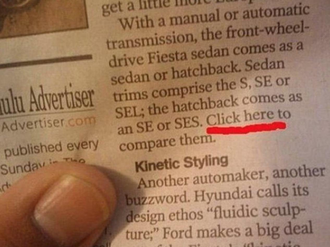 """Click Here"" in a printed Newspaper?"