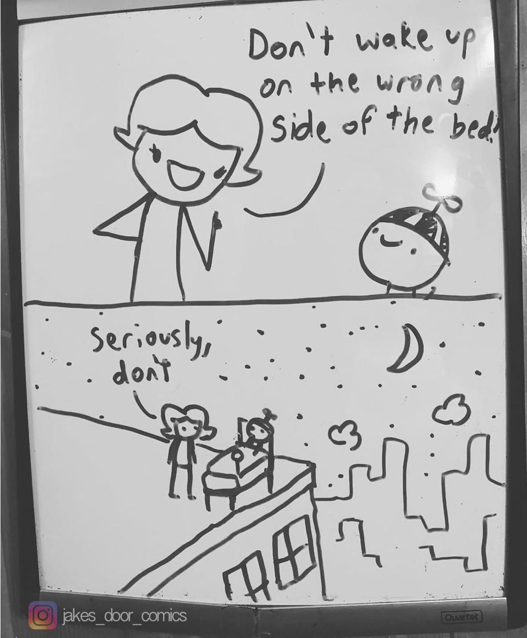 Last week I posted about my 14yo son drawing a new comic on his bedroom door whiteboard each night. Here's a recent one I thought was pretty funny.