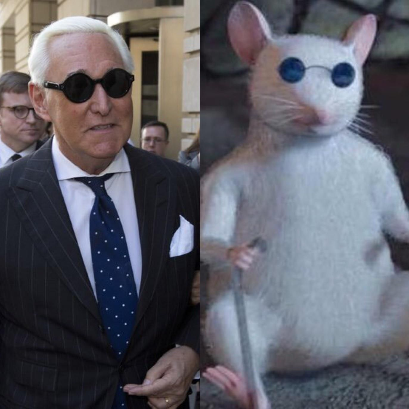 Roger Stone looks like one of the blind mice from Shrek