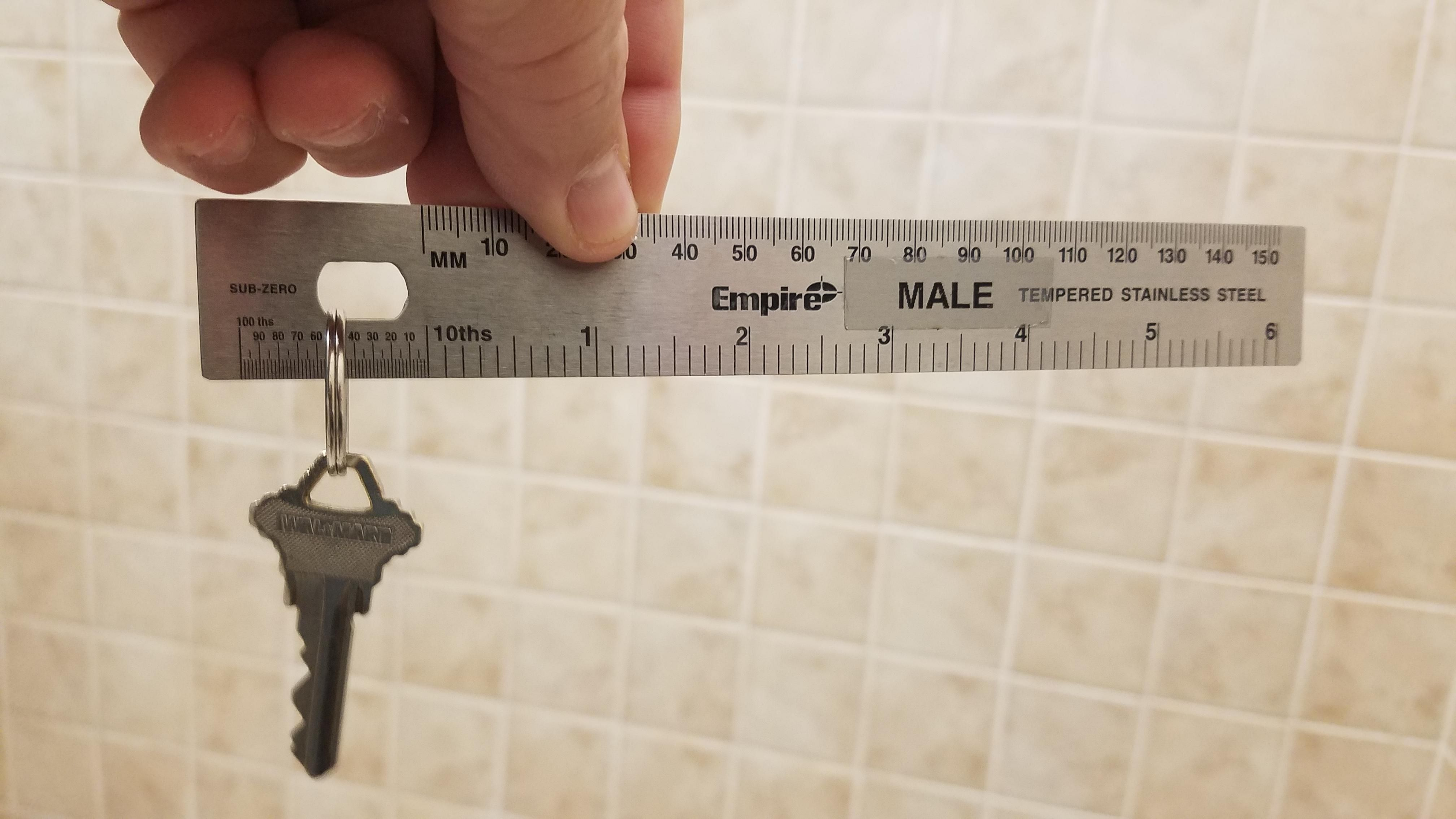 The key to the Men's Bathroom at my Dentists Office