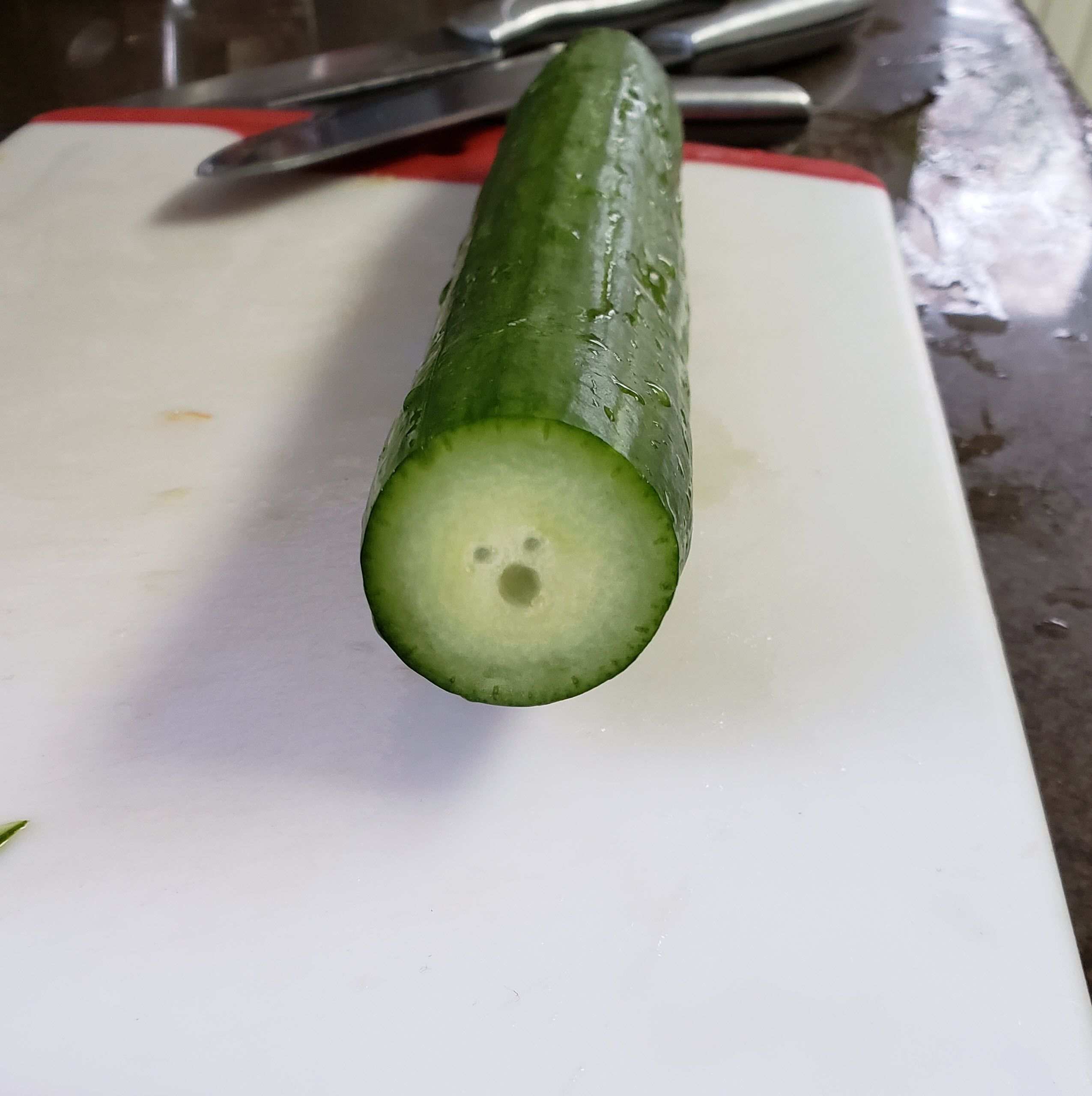 I cut a cucumber. I don't think it was aware that was going to happen.