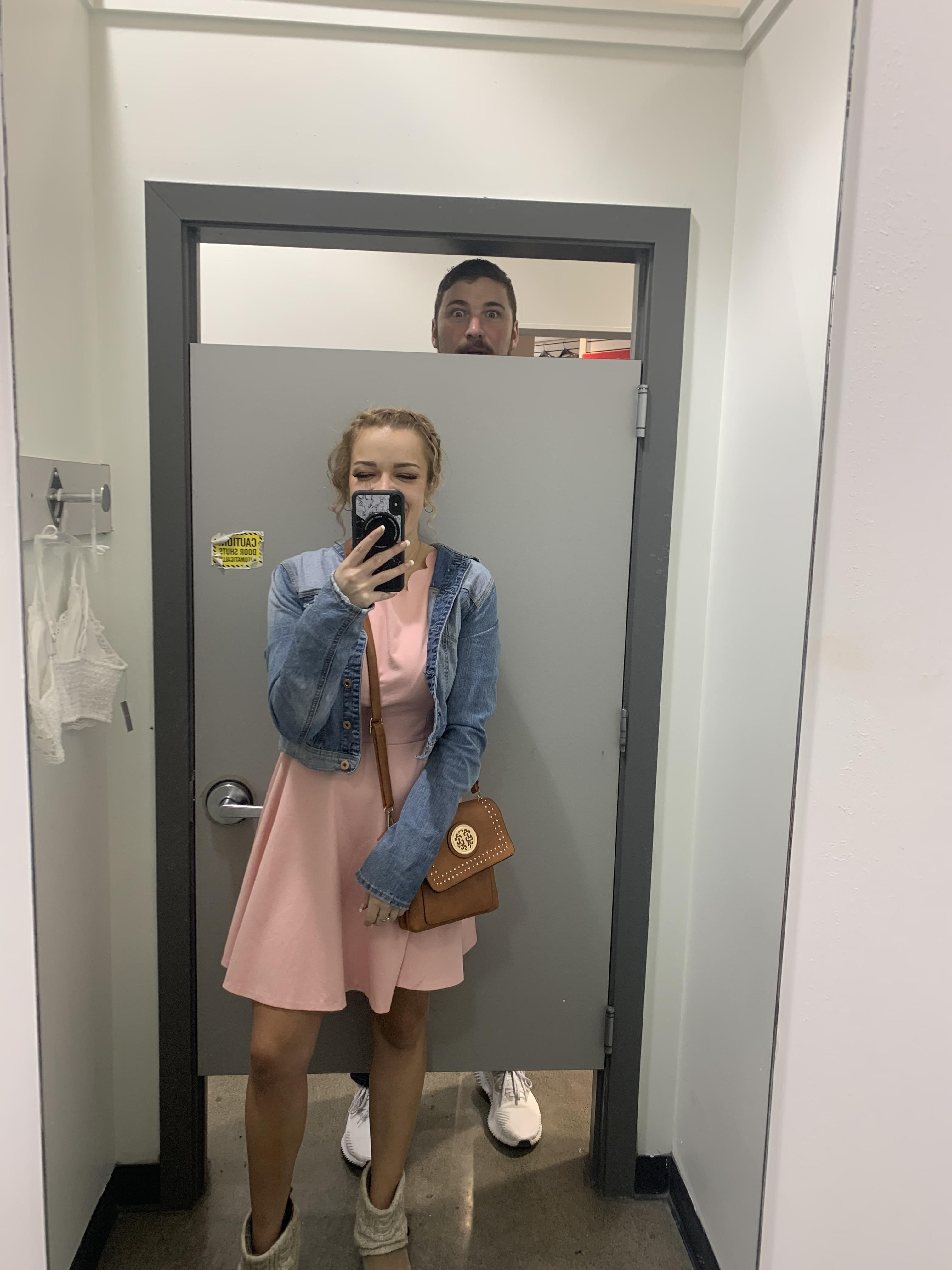 Turns out dressing rooms aren't safe from tall people