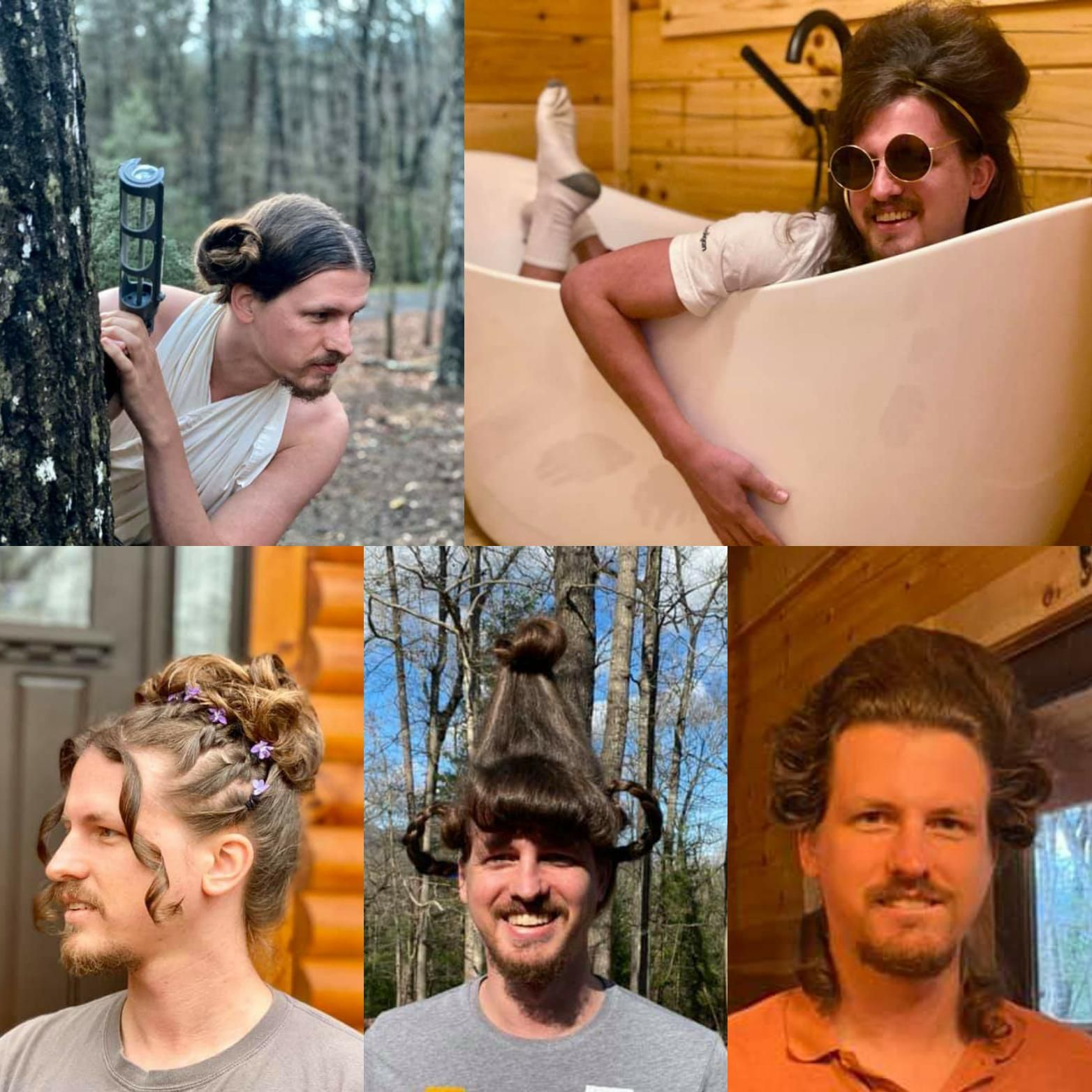 A hairstylist friend of mine is doing her boyfriend's hair each day they are quarantined! So far we have Leia, Amy Winehouse, 90's prom, Cindy Lou Who, and George Washington.