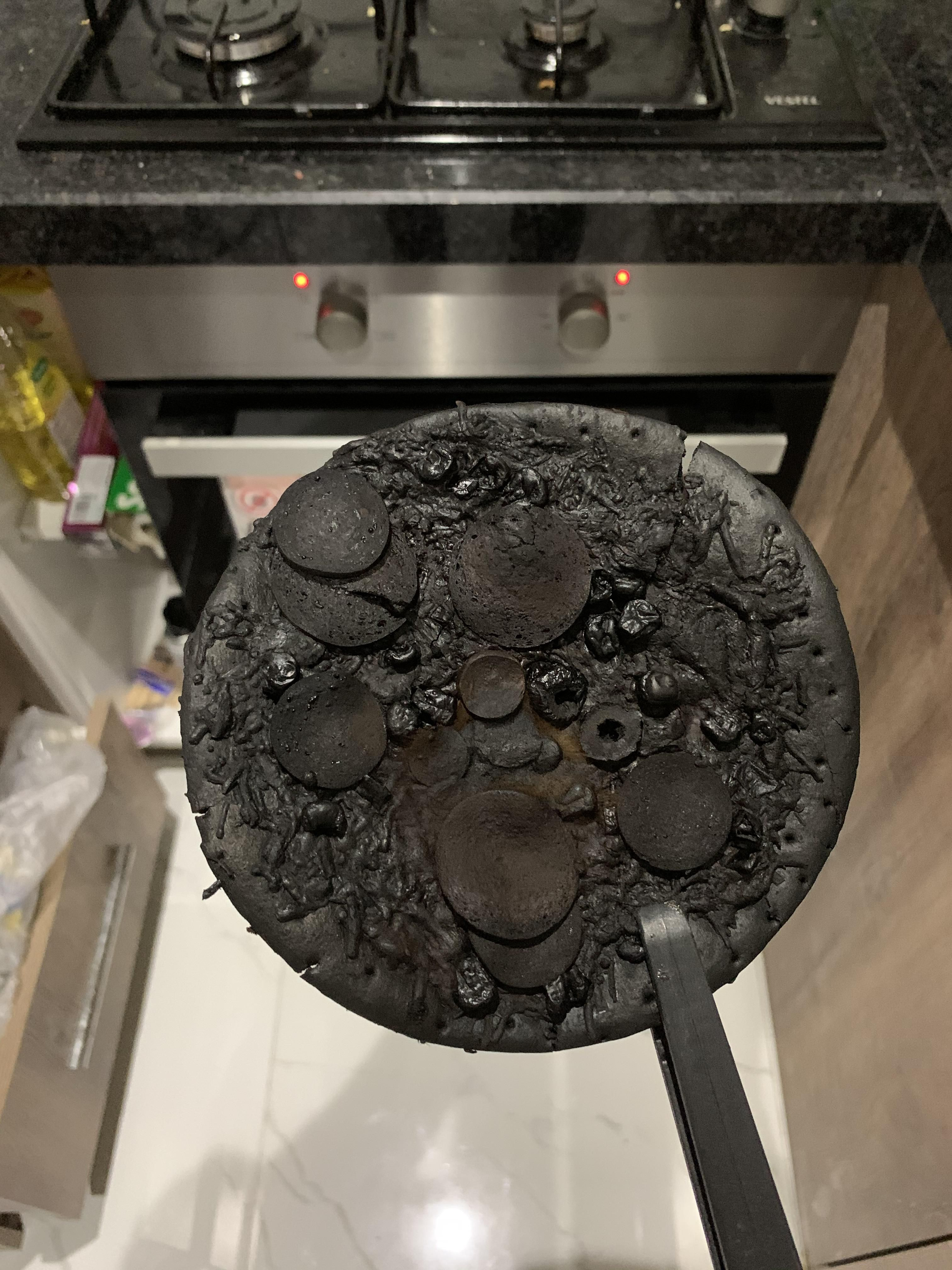 I forgot this pizza in the oven about a year ago