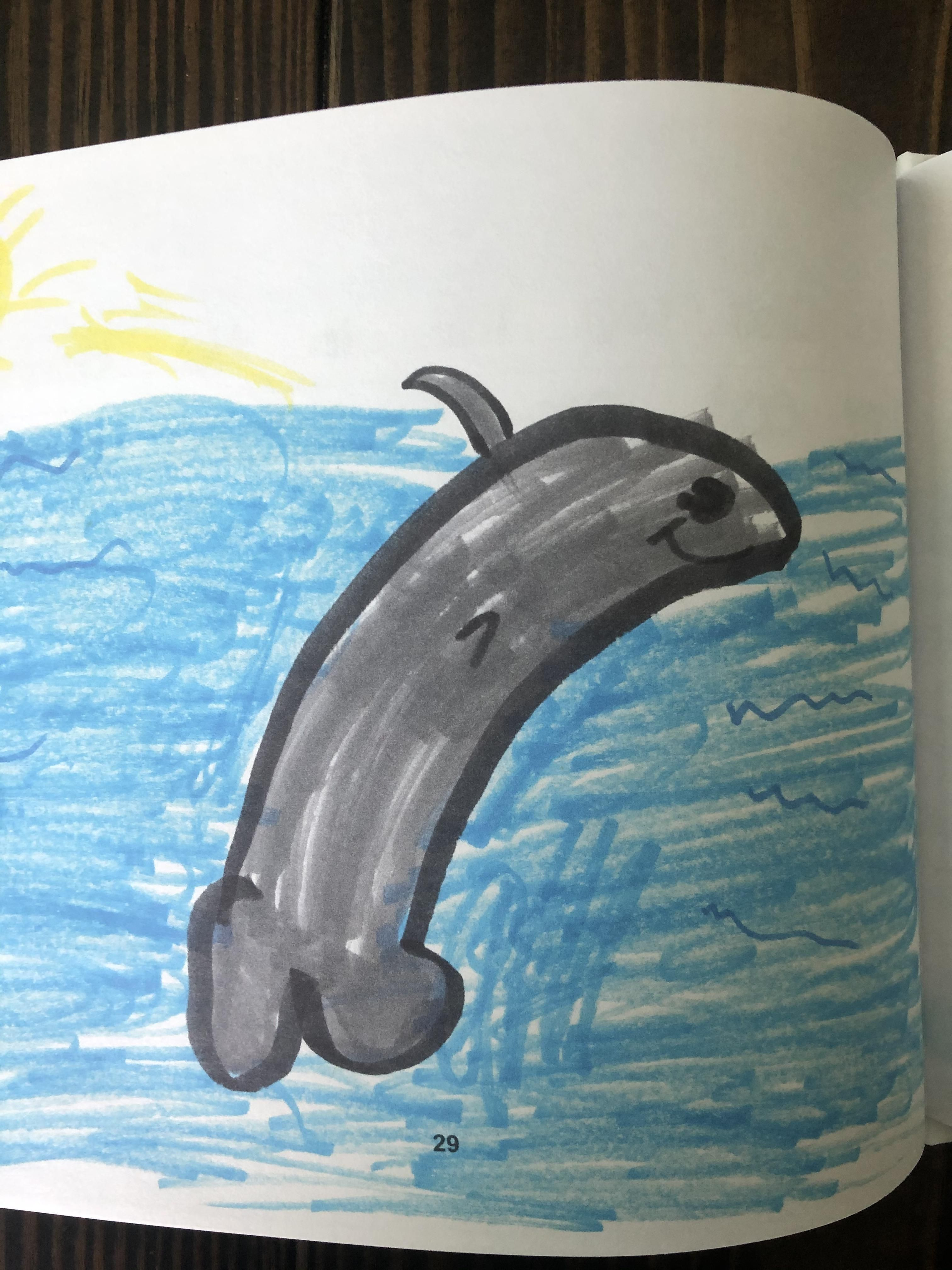 My daughter's kindergarten class published a book of their animal drawings. My daughter drew a penis dolphin.